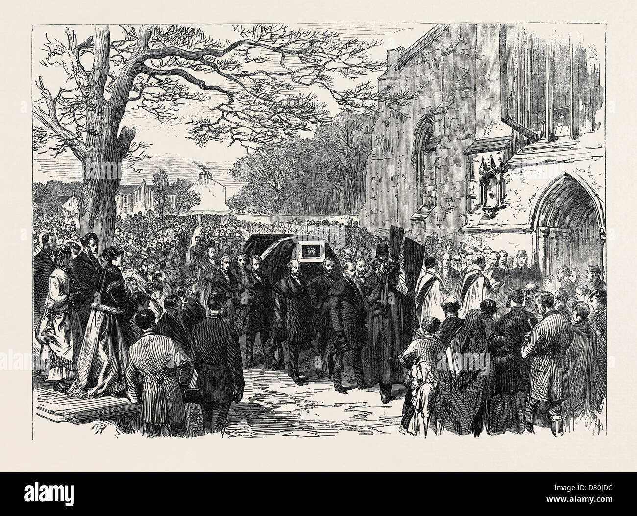 THE HUNTING DISASTER IN YORKSHIRE: THE FUNERAL OF SIR CHARLES SLINGSBY AT KNARESBOROUGH 1869 - Stock Image