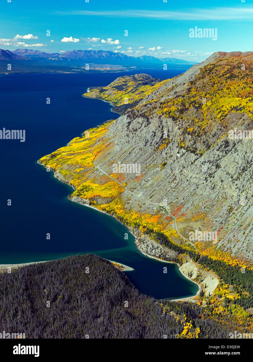 An aerial photo during fall colors of the Kluane Lake in the Yukon Territory of Canada - Stock Image