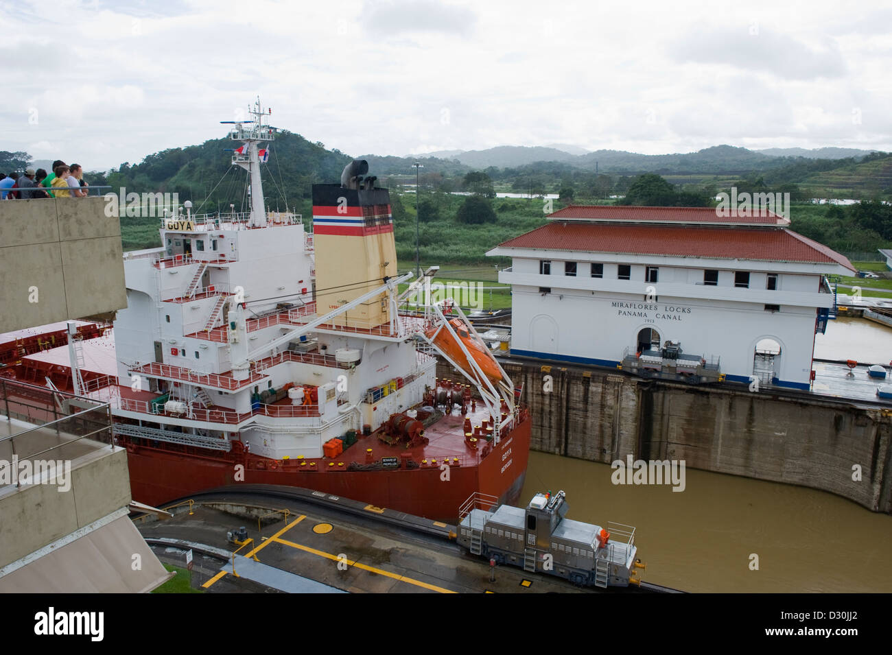Miraflores Locks, Panama Canal, Panama City, Panama, Central America - Stock Image
