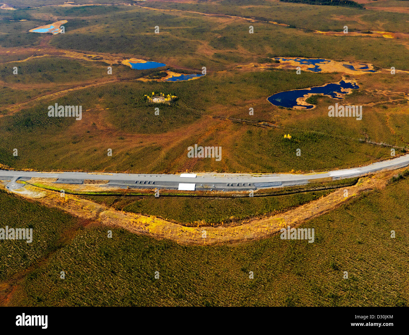 Alaska Highway permafrost test lab just inside the Yukon Territory in Canada from Alaska conducted by University - Stock Image