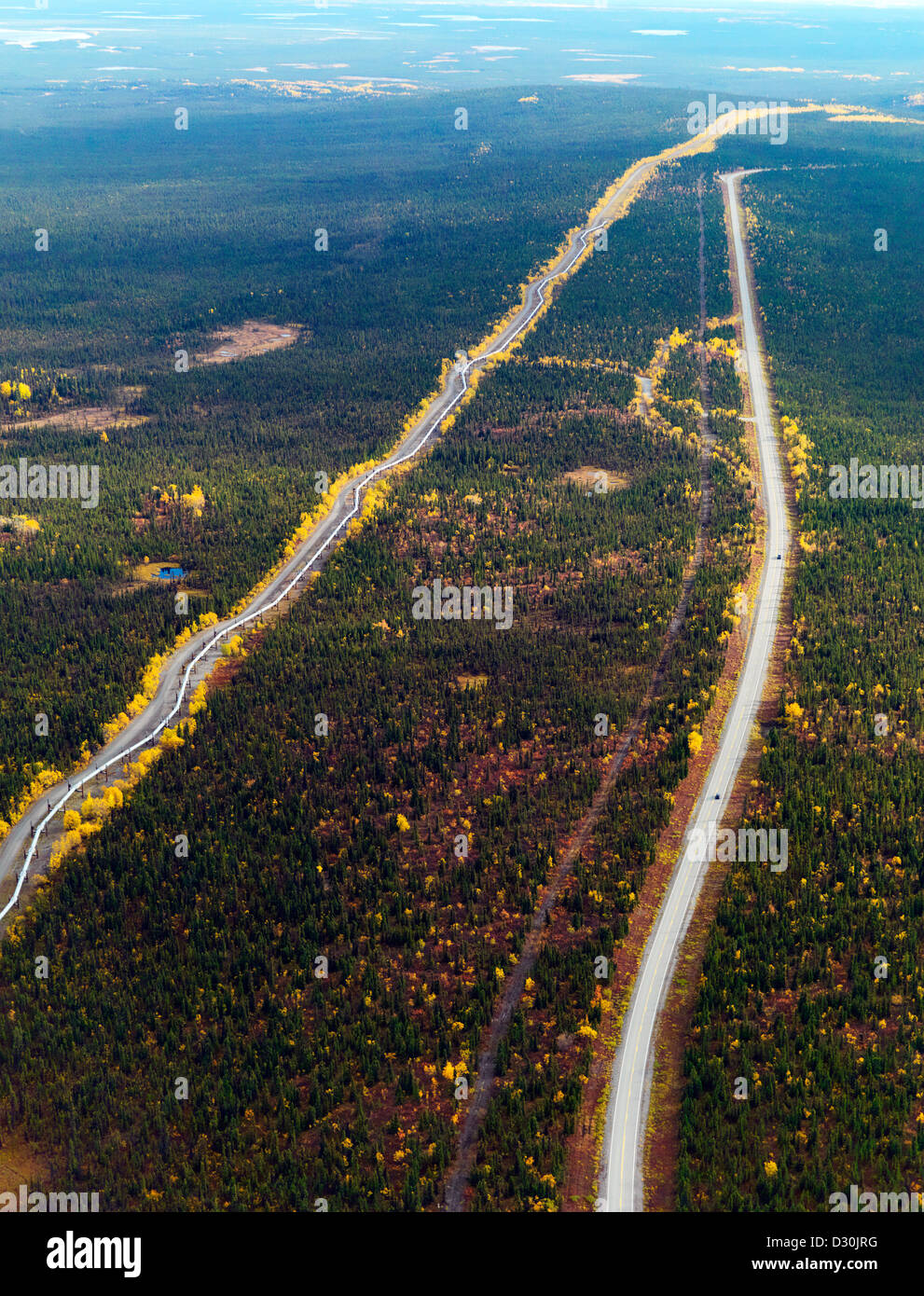 Richardson Highway and the Trans Alaska oil pipeline an aerial photo - Stock Image
