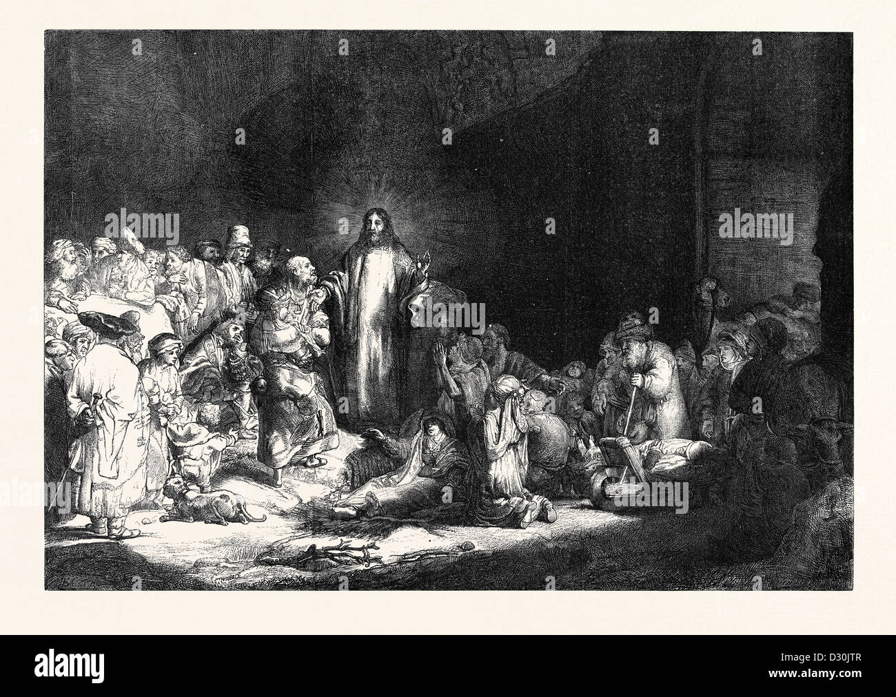 REMBRANDT'S HUNDRED GUILDER PIECE CHRIST HEALING THE SICK 1869 - Stock Image