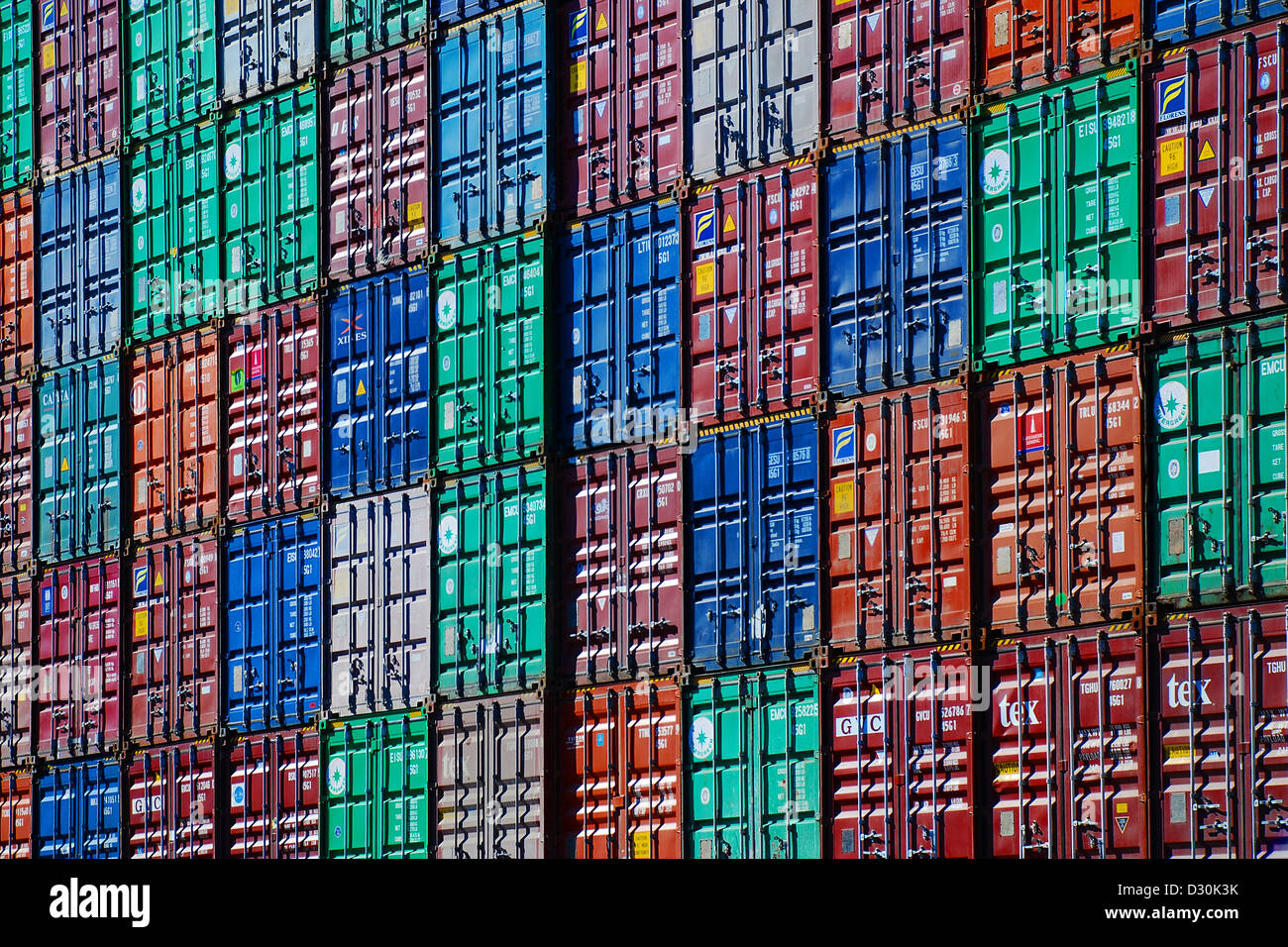Stacked shipping containers in Port Elizabeth NJ. - Stock Image