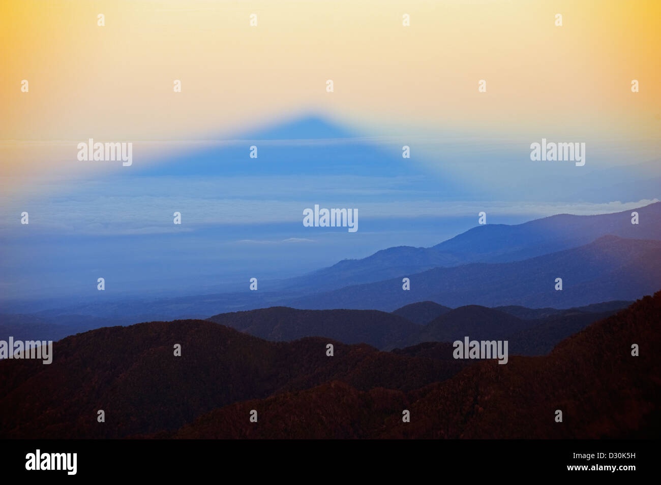 view from summit Volcan Baru, panama shadow Stock Photo