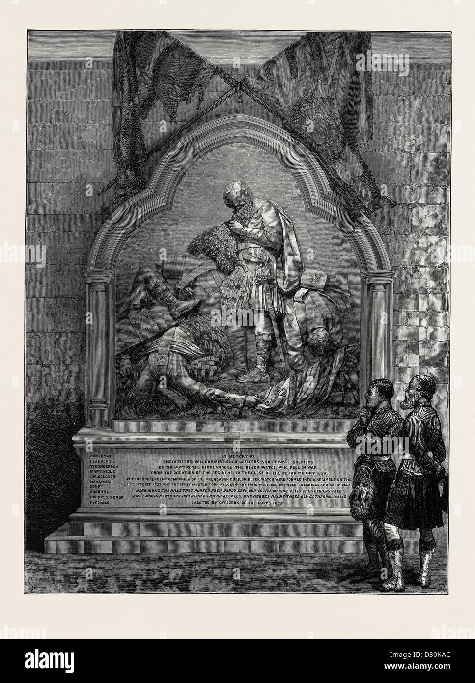 MONUMENT TO THE 42ND HIGHLANDERS, RECENTLY UNVEILED IN DUNKELD CATHEDRAL - Stock Image