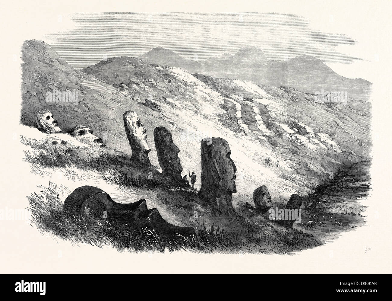 GROUP OF IMAGES INSIDE THE CRATER OF OTUITI EASTER ISLAND 1869 - Stock Image