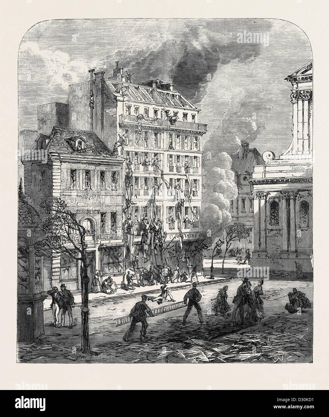 EXPLOSION IN THE PLACE DE LA SORBONNE PARIS FRANCE 1869 - Stock Image