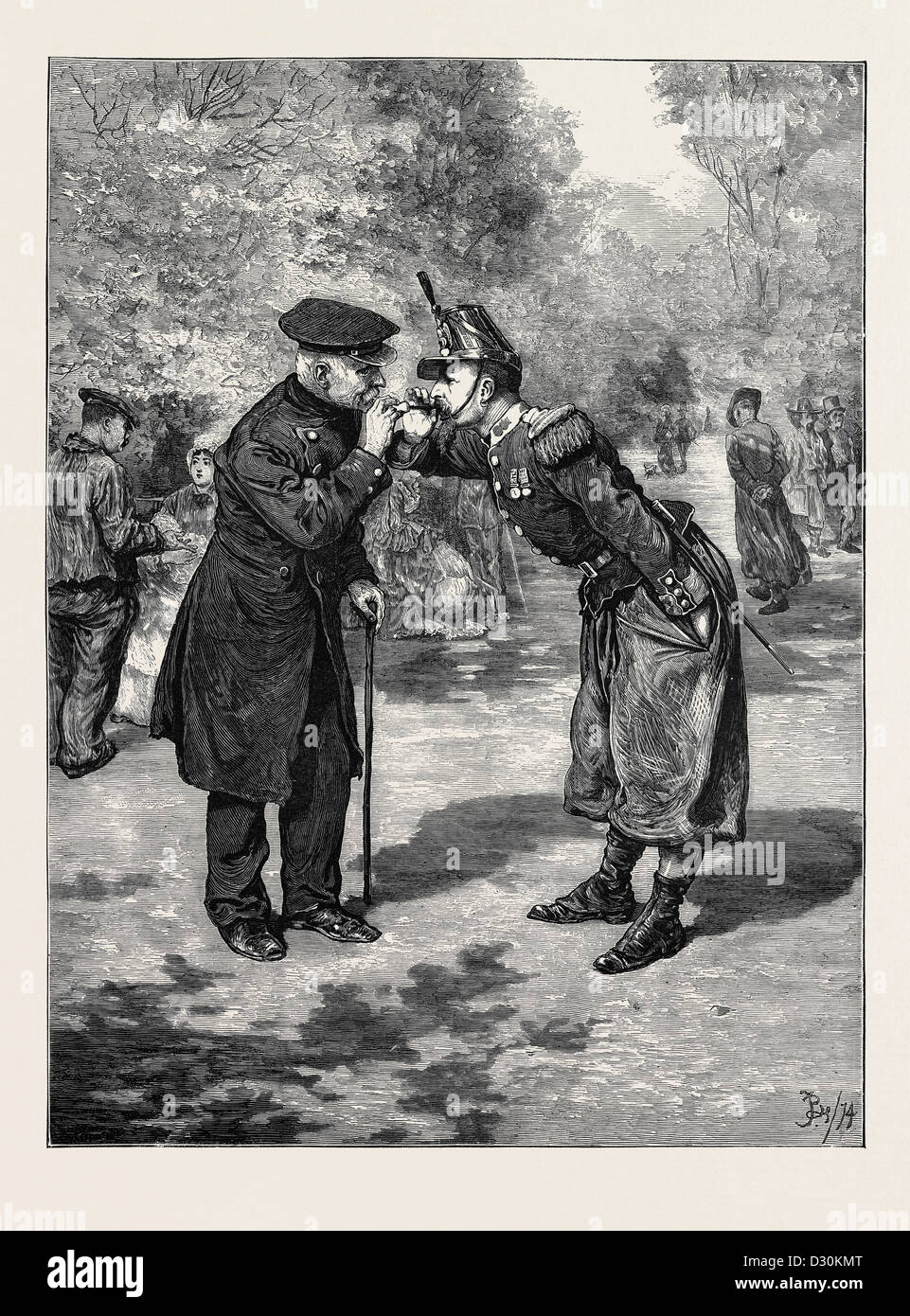 THE PIPING TIMES OF PEACE, FROM THE PICTURE BY F. BARNARD IN THE EXHIBITION OF THE ROYAL ACADEMY - Stock Image