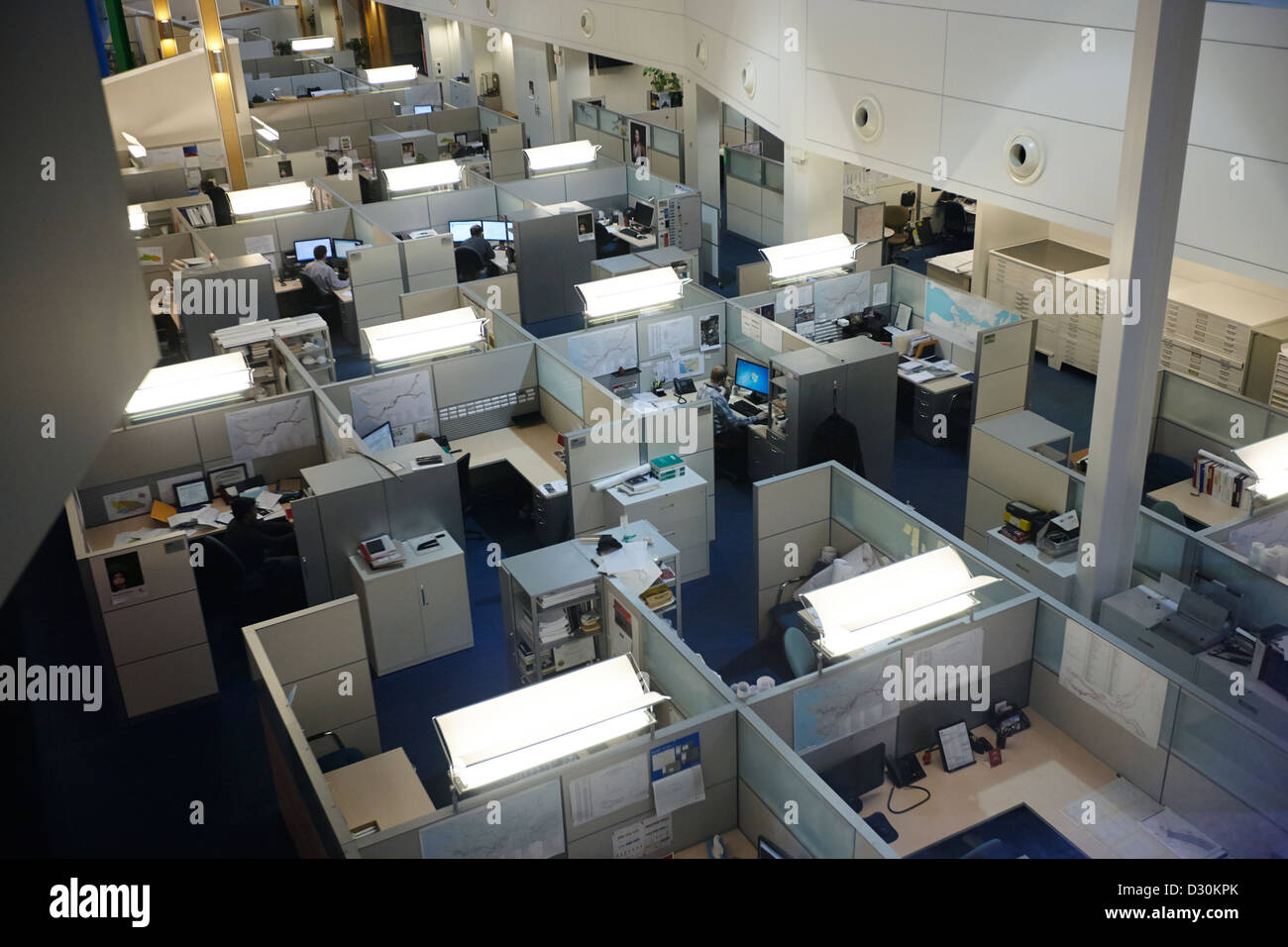 modern office cubicles. Overhead Shot Of Modern Office Building Cubicles Canada