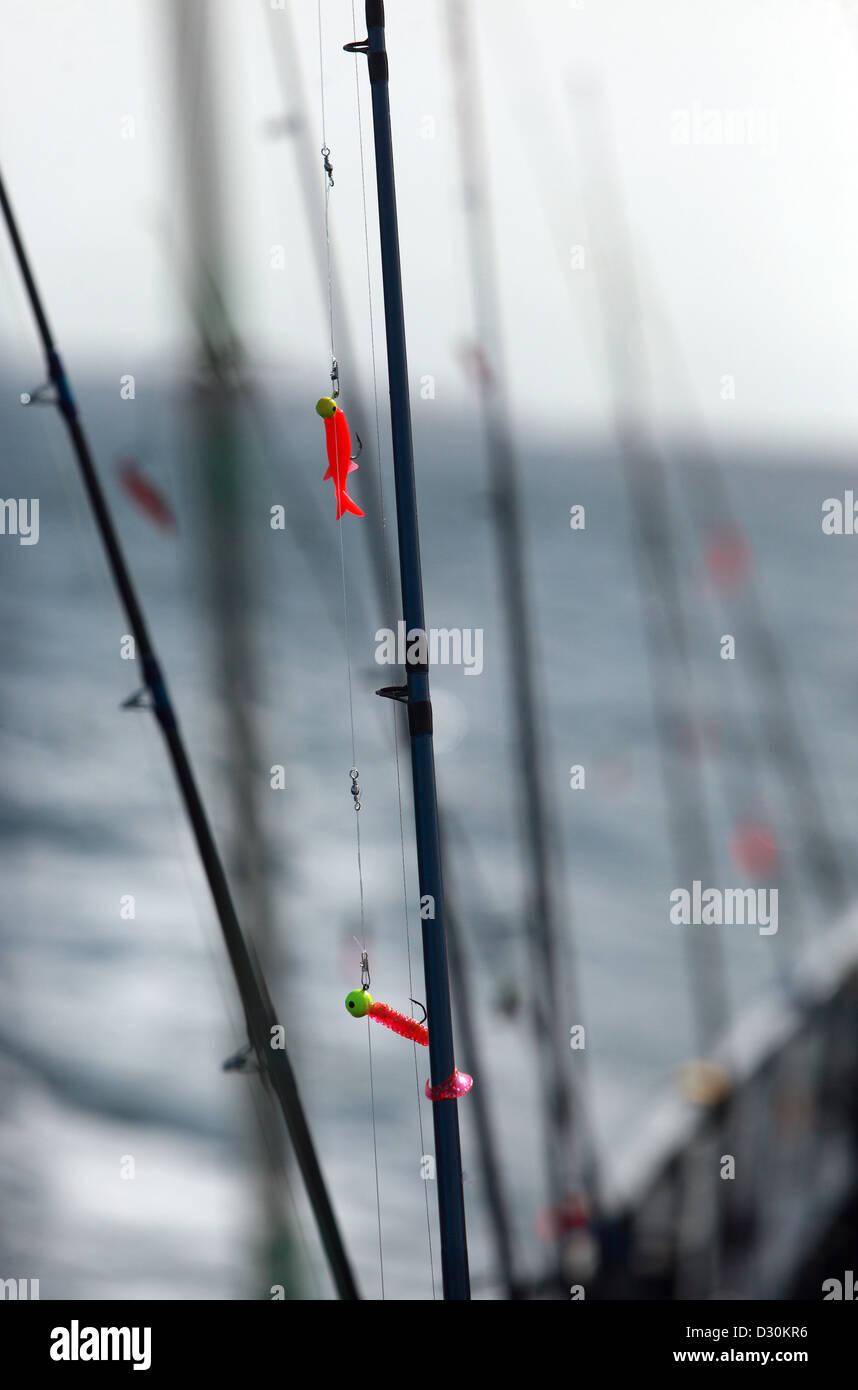 Wismar, Germany, fishing rods - Stock Image