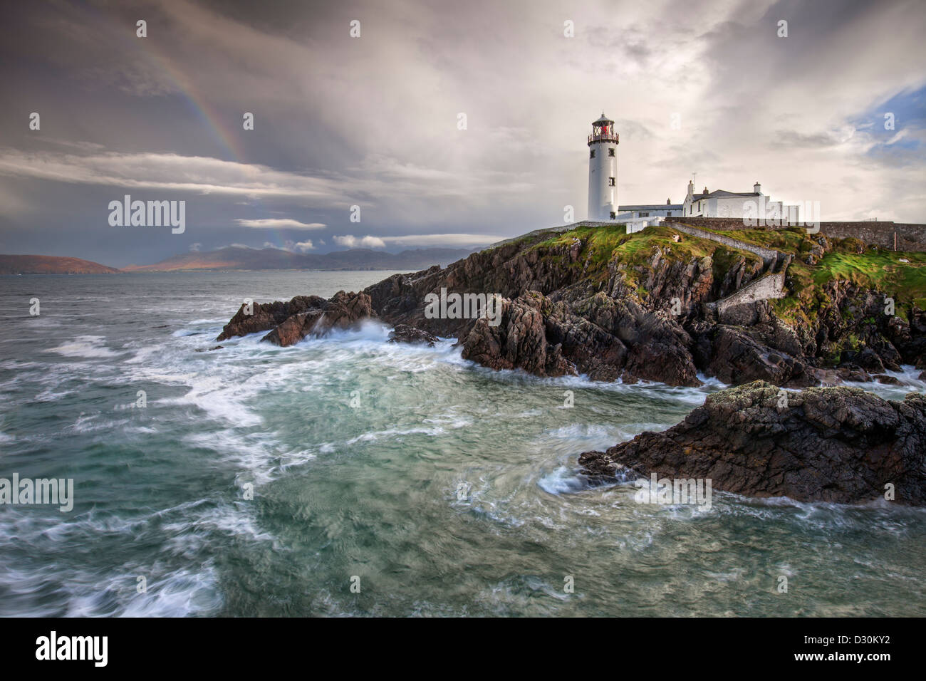 Stormy day at Fanad Head Lighthouse in County Donegal. - Stock Image