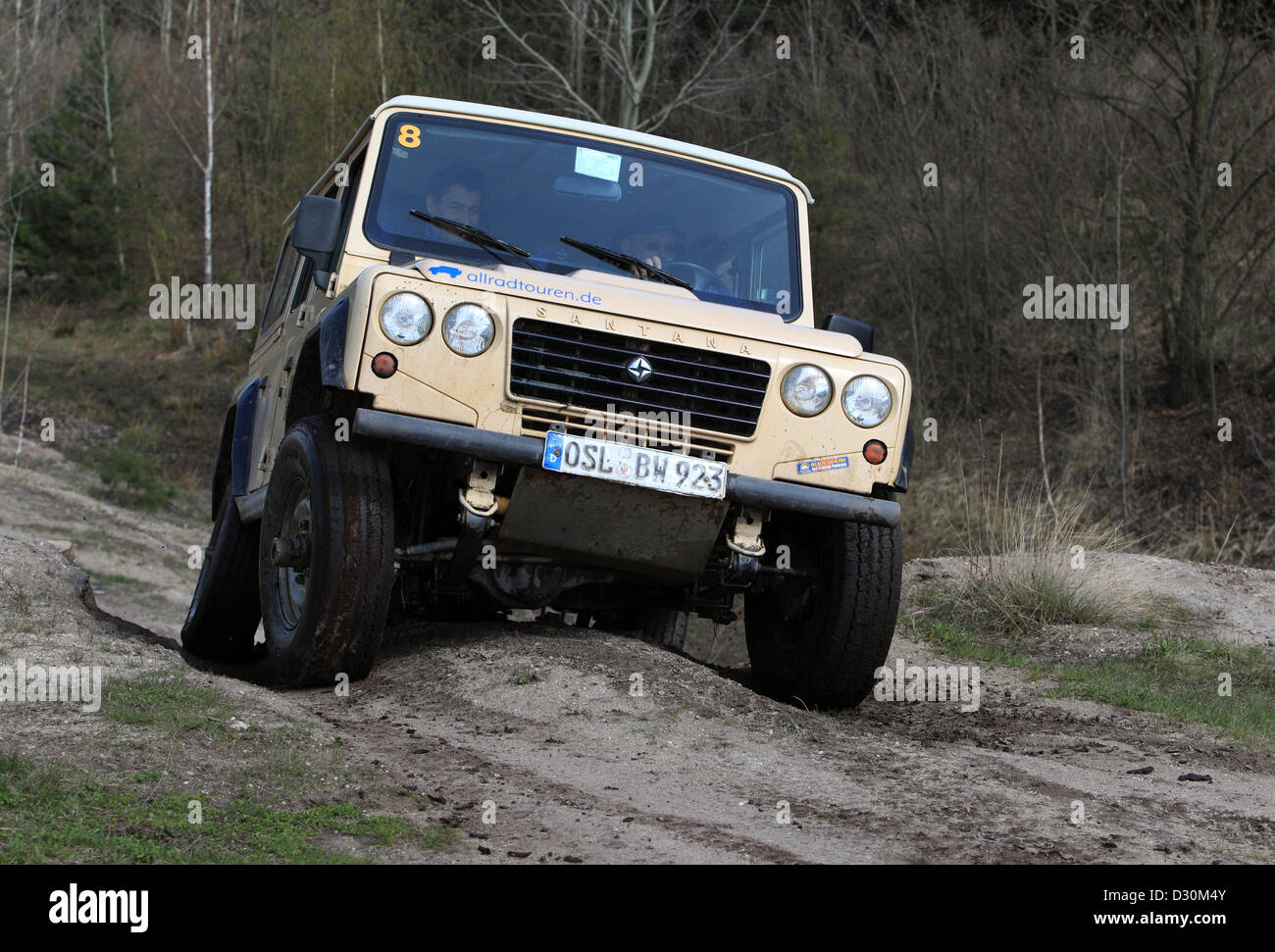 Senftenberg, Germany, terrain vehicle travels over rough terrain - Stock Image