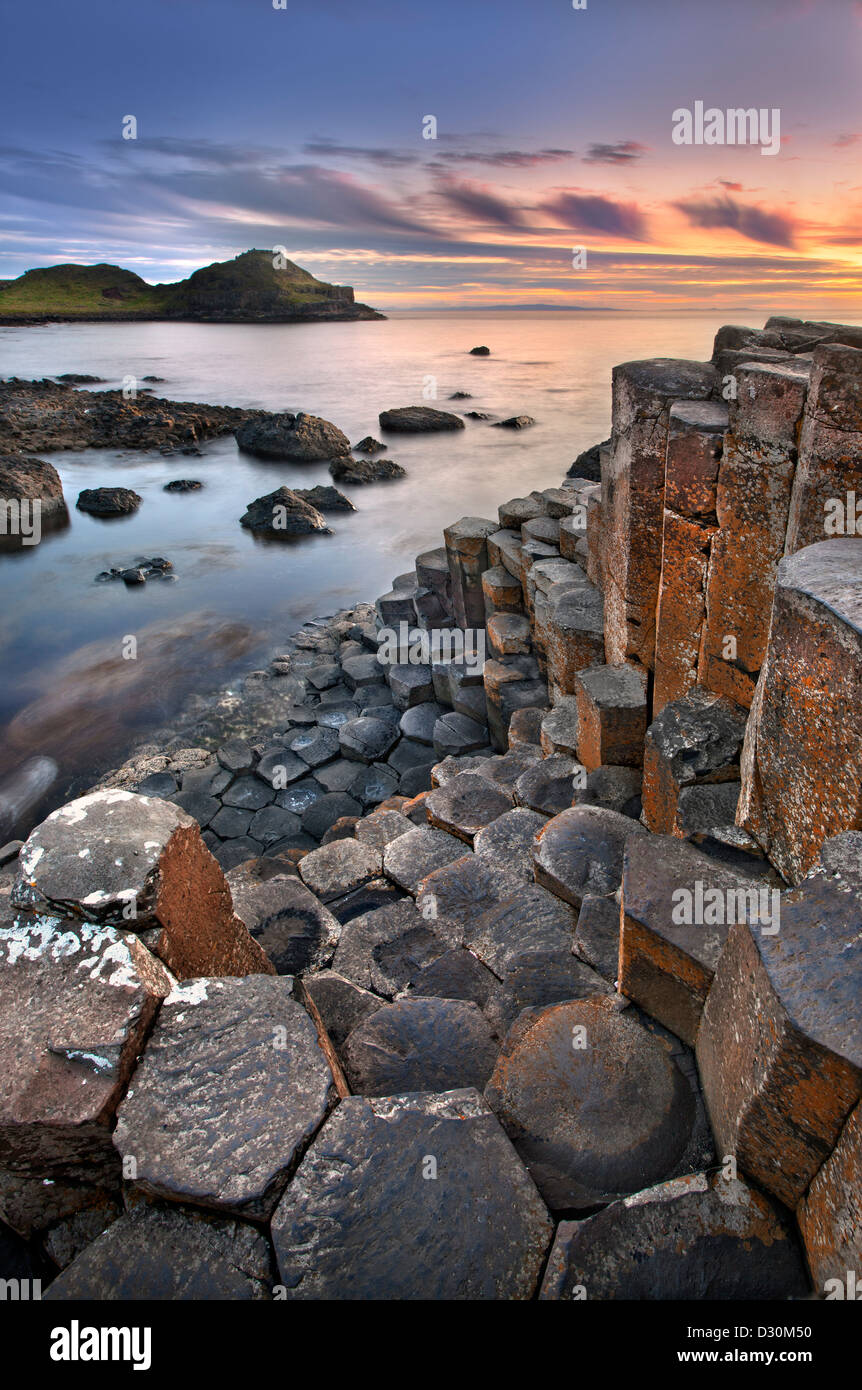 Giants Causeway at dusk, Northern Ireland. - Stock Image