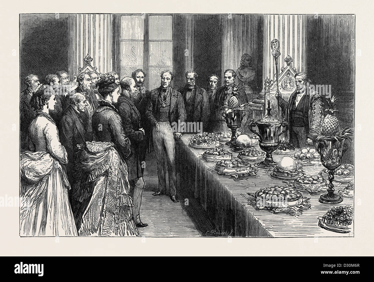PRESENTATION OF FRUIT TO THE LORD MAYOR OF LONDON, AN ANNUAL CUSTOM OF THE FRUITERERS' COMPANY, AUGUST 8, 1874 - Stock Image