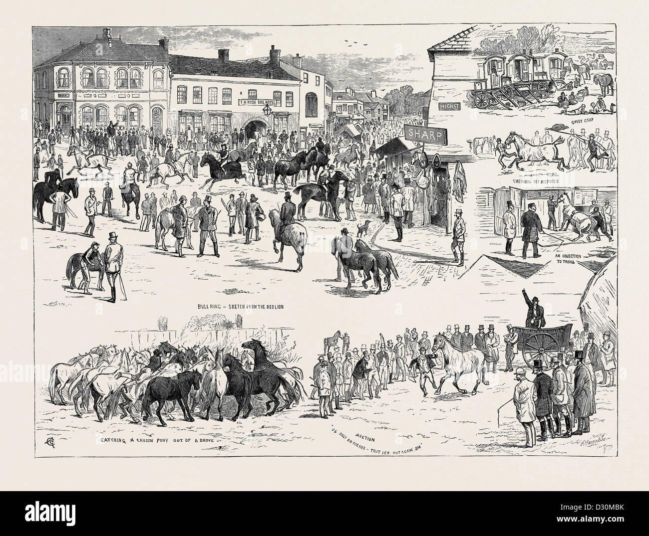 JOTTINGS AT THE HORNCASTLE HORSE FAIR, AUGUST 22, 1874 - Stock Image