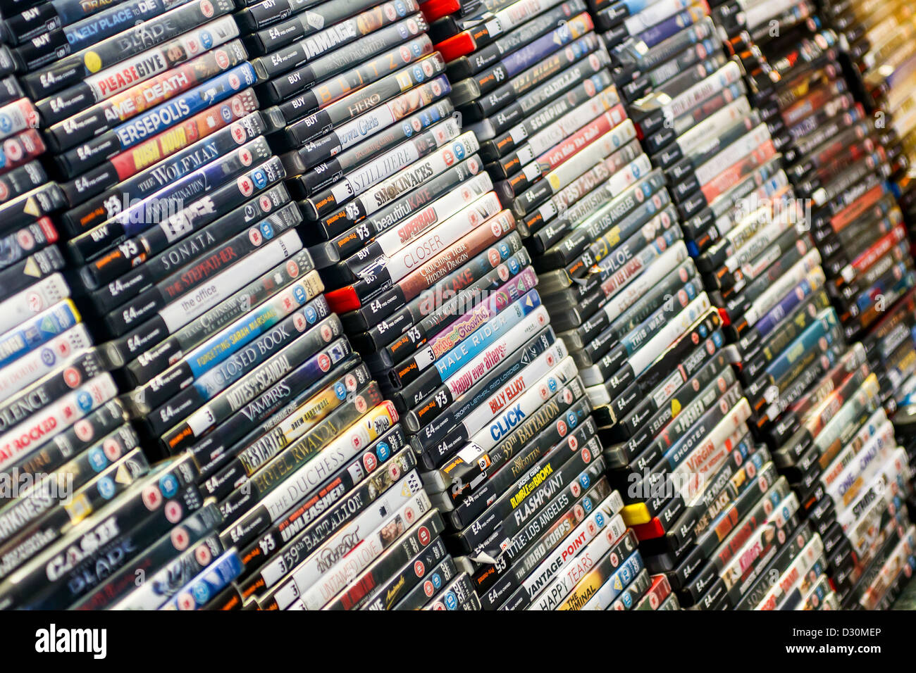 Stacks Of Dvd Movies For Sale Stock Photo