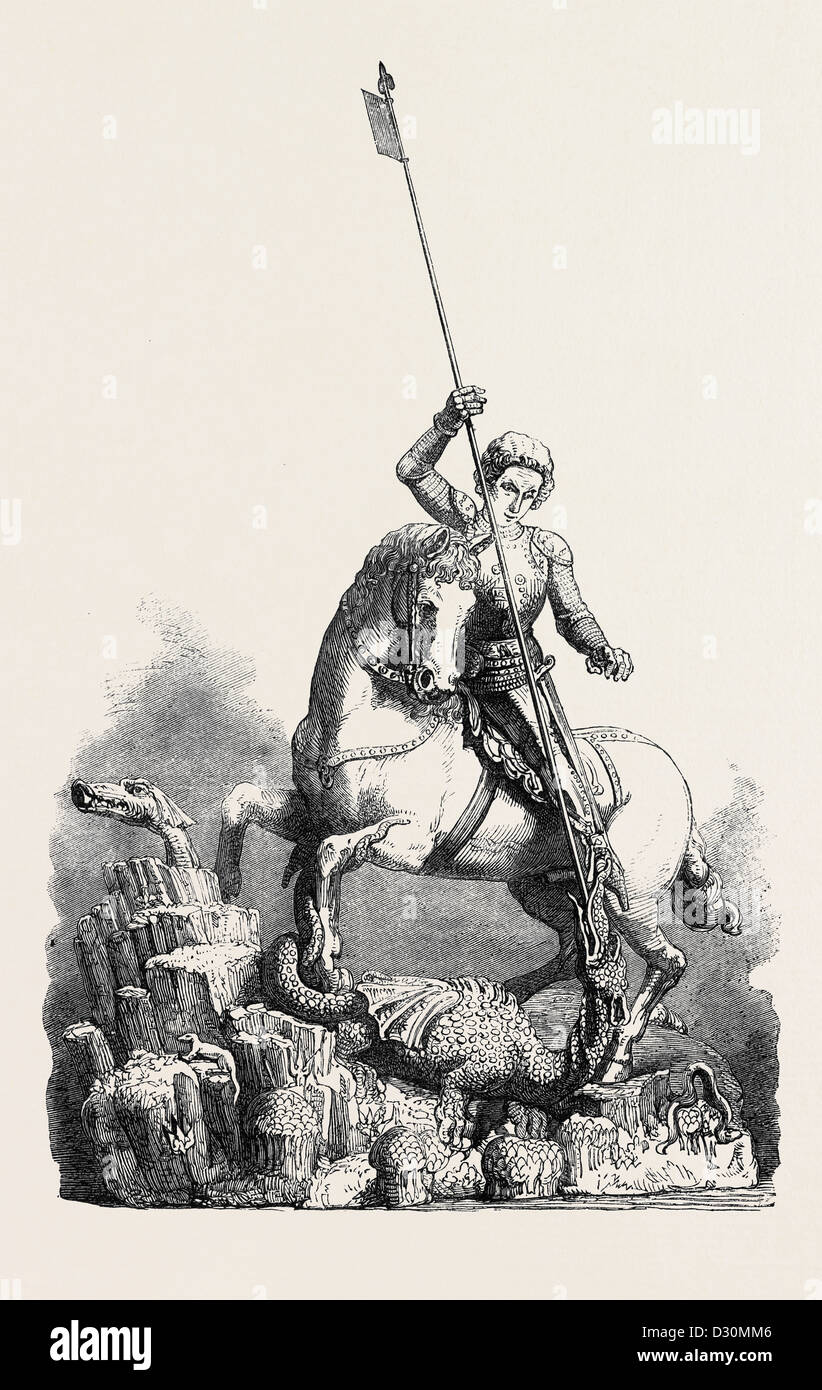 ST. GEORGE SLAYING THE DRAGON FROM THE OLD PALACE AT PRAGUE - Stock Image