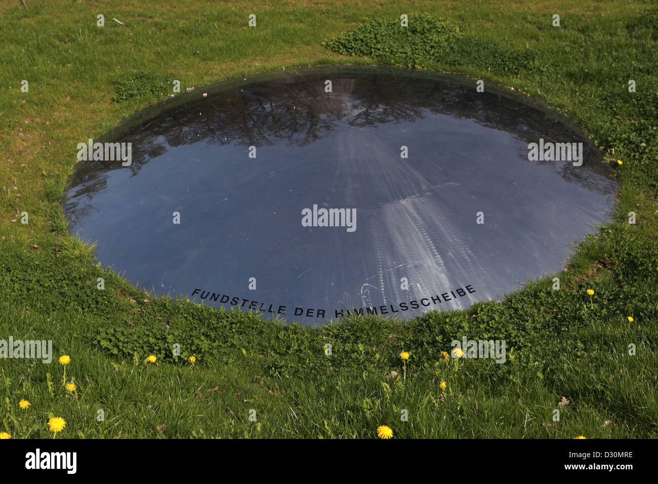 Wangen, Germany, reference of the Sky Disc of Nebra on the Mittelberg - Stock Image