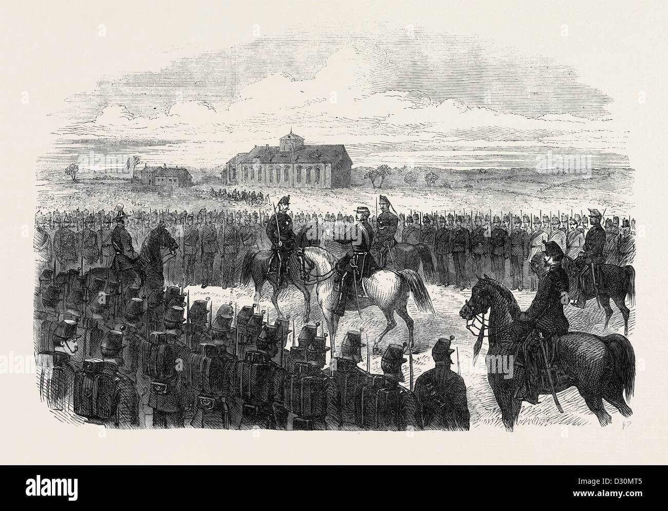 INSPECTION OF THE ESSEX RIFLES (MILITIA) AT COLCHESTER UK 1869 - Stock Image
