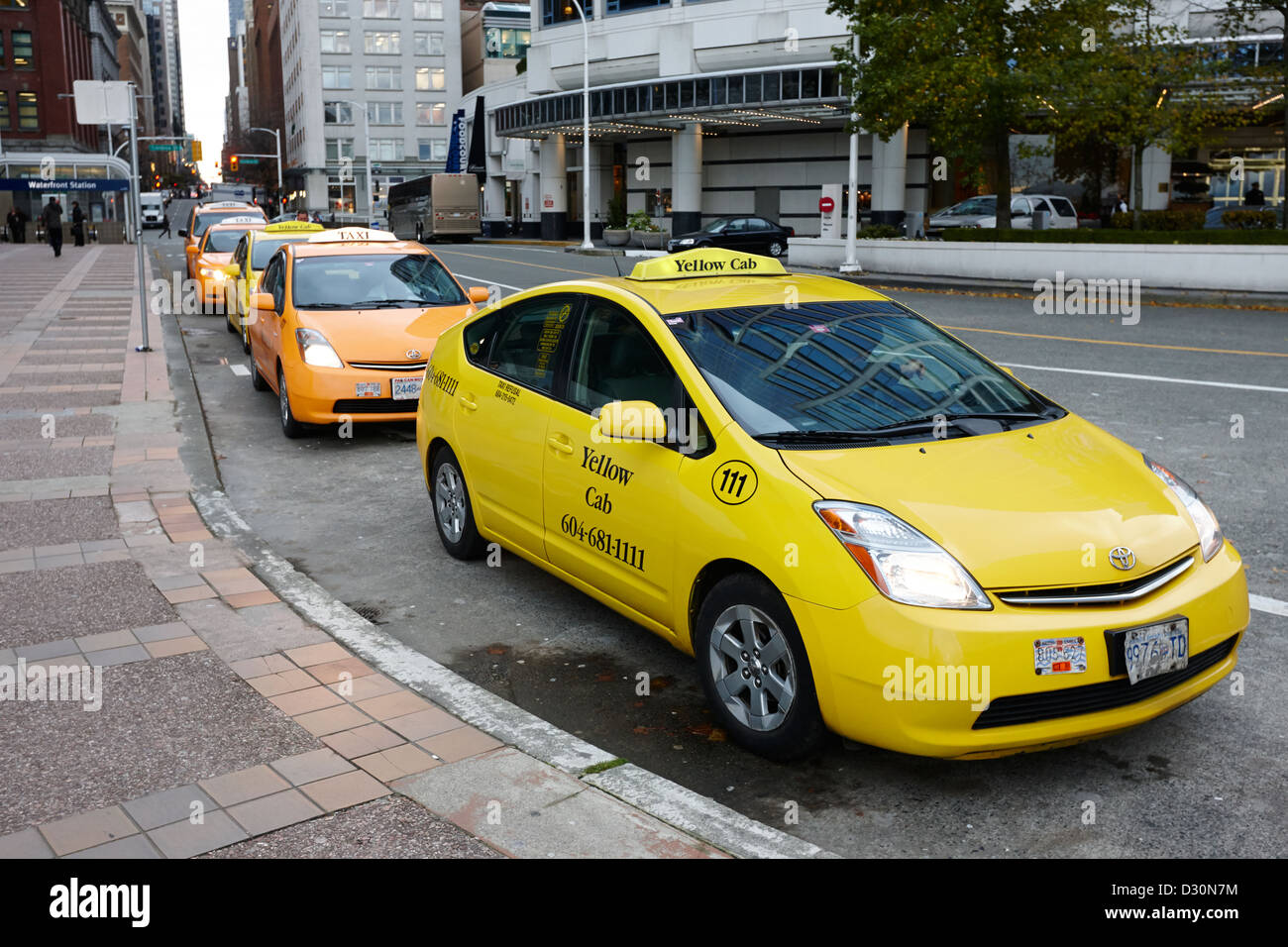 row of yellow cabs outside canada place including prius hybrid vehicles Vancouver BC Canada - Stock Image