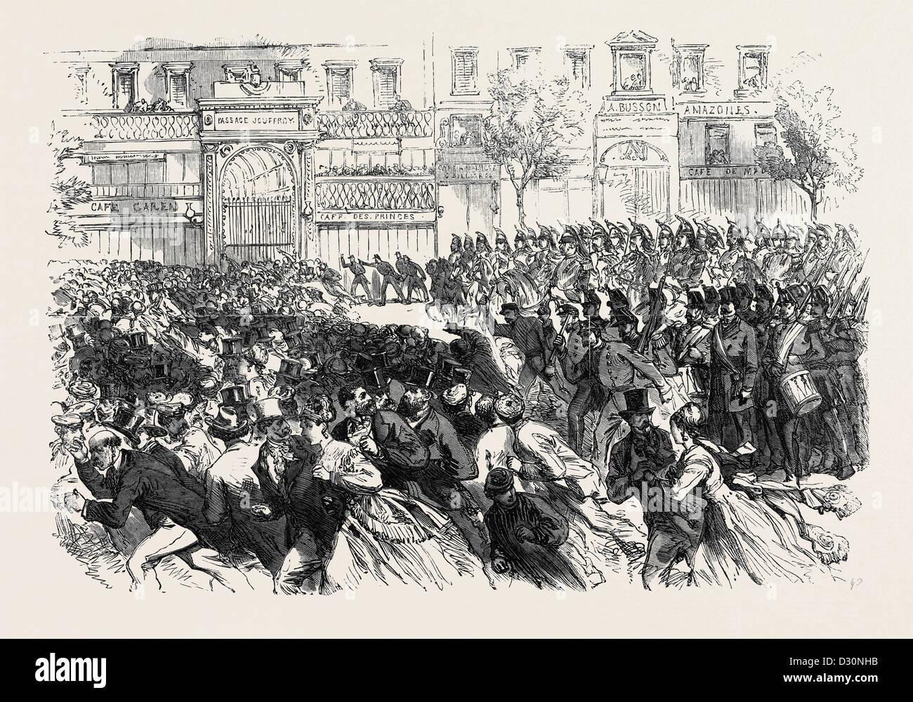 THE DISTURBANCES IN PARIS: CAVALRY CLEARING THE BOULEVARDS ON THE NIGHT OF JUNE 10 1869 FRANCE - Stock Image
