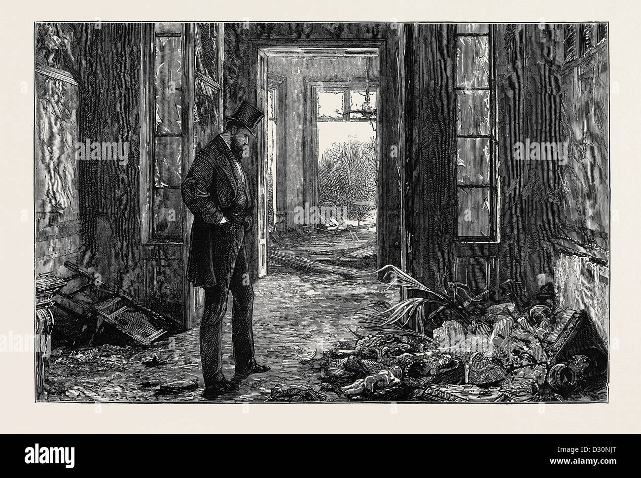 AFTER THE EXPLOSION, WRECK OF A COLLECTION OF BAS RELIEFS, CHINA, CARVINGS, ETC., IN MR. GERSTENBERG'S HOUSE - Stock Image