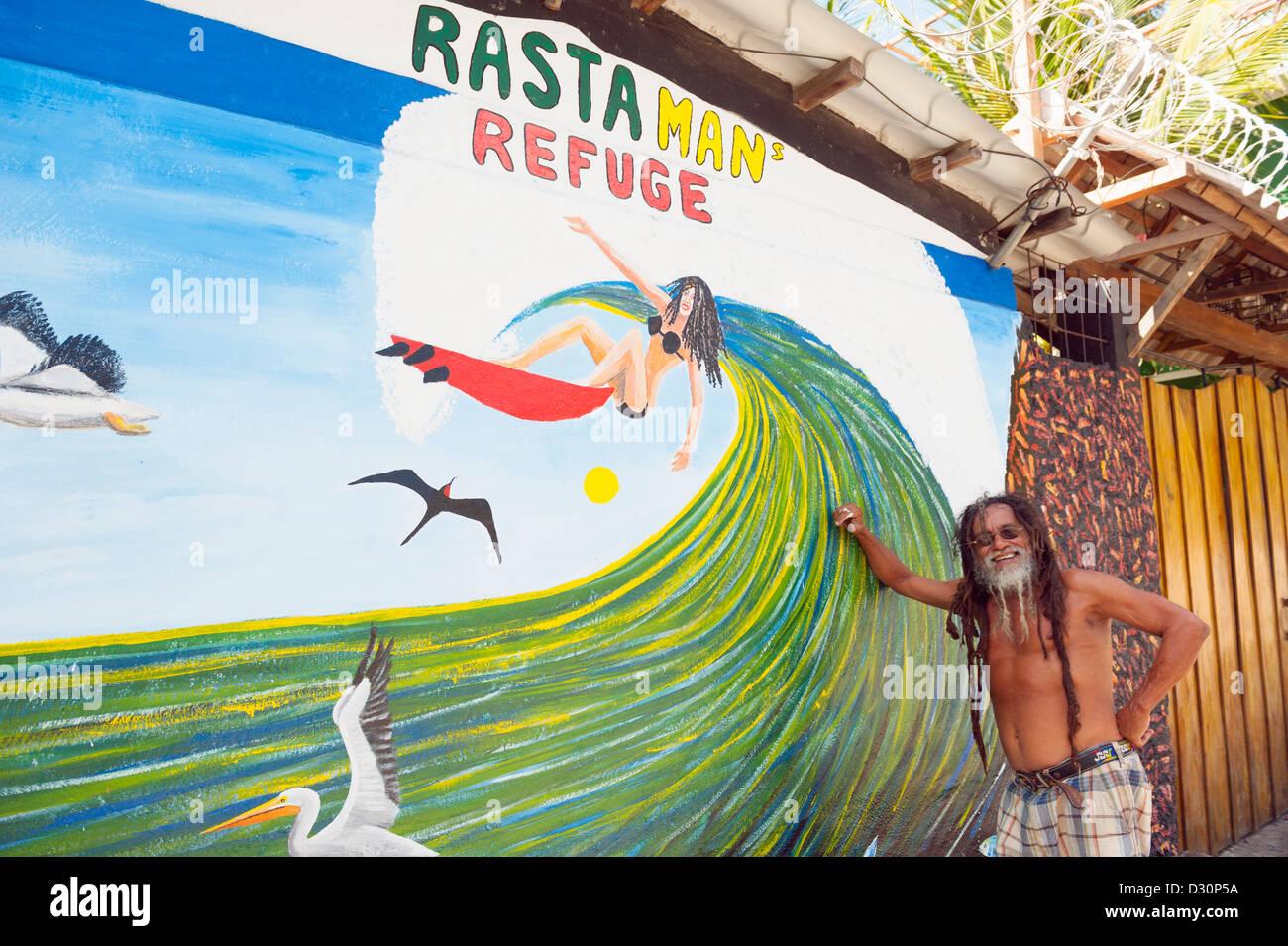 wall painting at Rasta Man Refuge, Pacific Coast, El Salvador, Central America - Stock Image