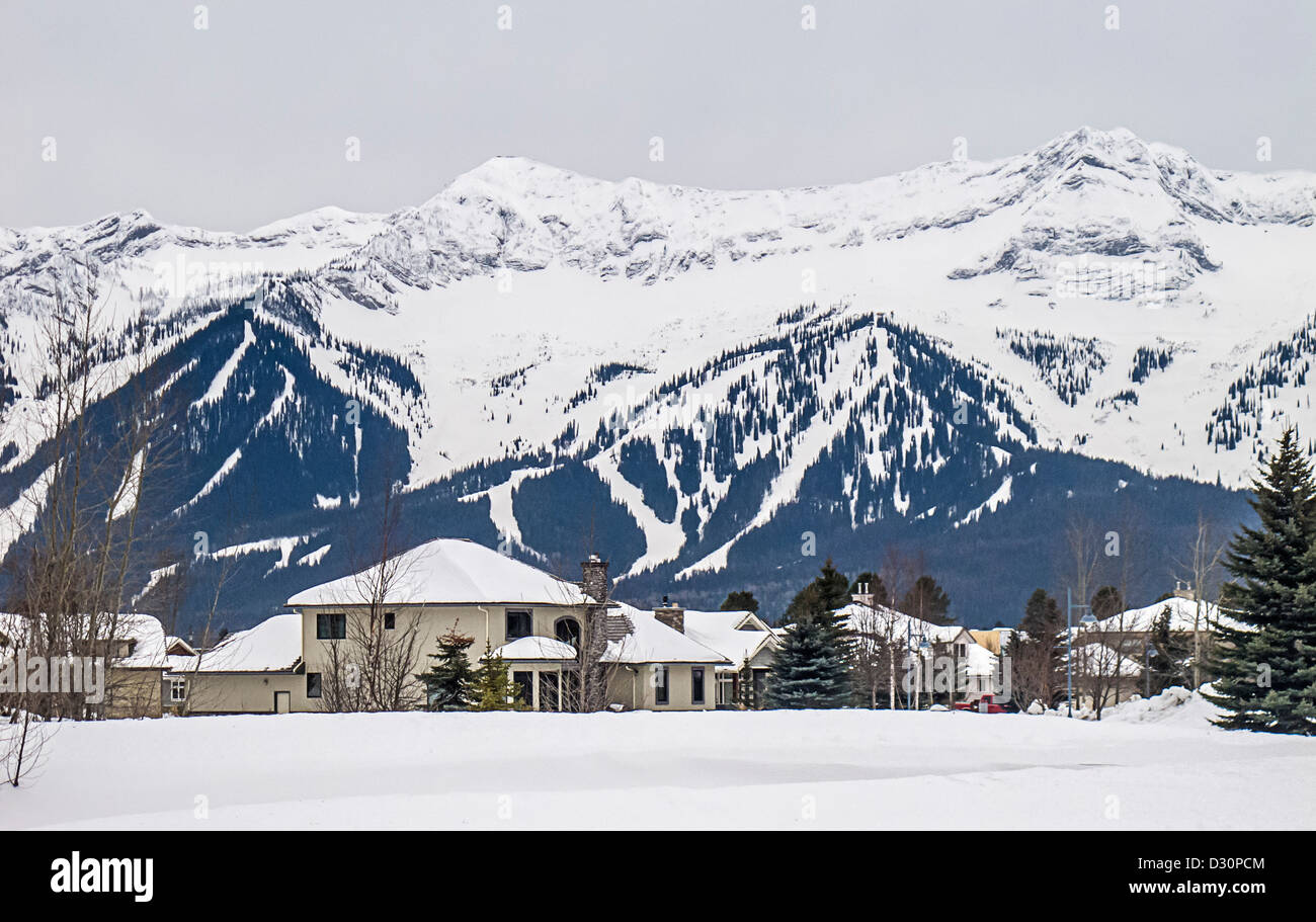 Ski trails of Fernie Alpine Resort seen from the town of Fernie, BC, Canada. - Stock Image