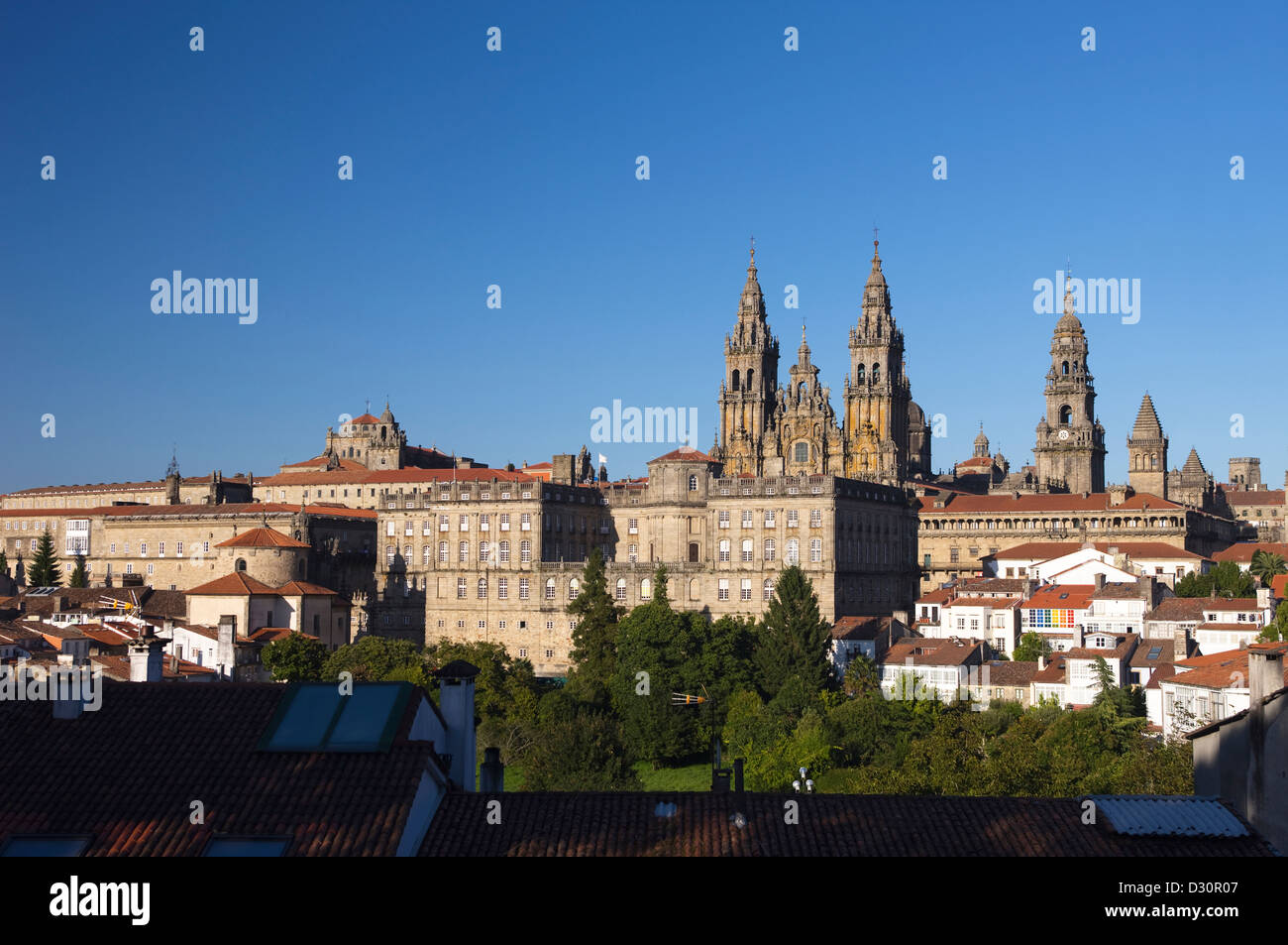 CATHEDRAL OF SAINT JAMES OLD CITY SKYLINE SANTIAGO DE COMPOSTELA GALICIA SPAIN Stock Photo