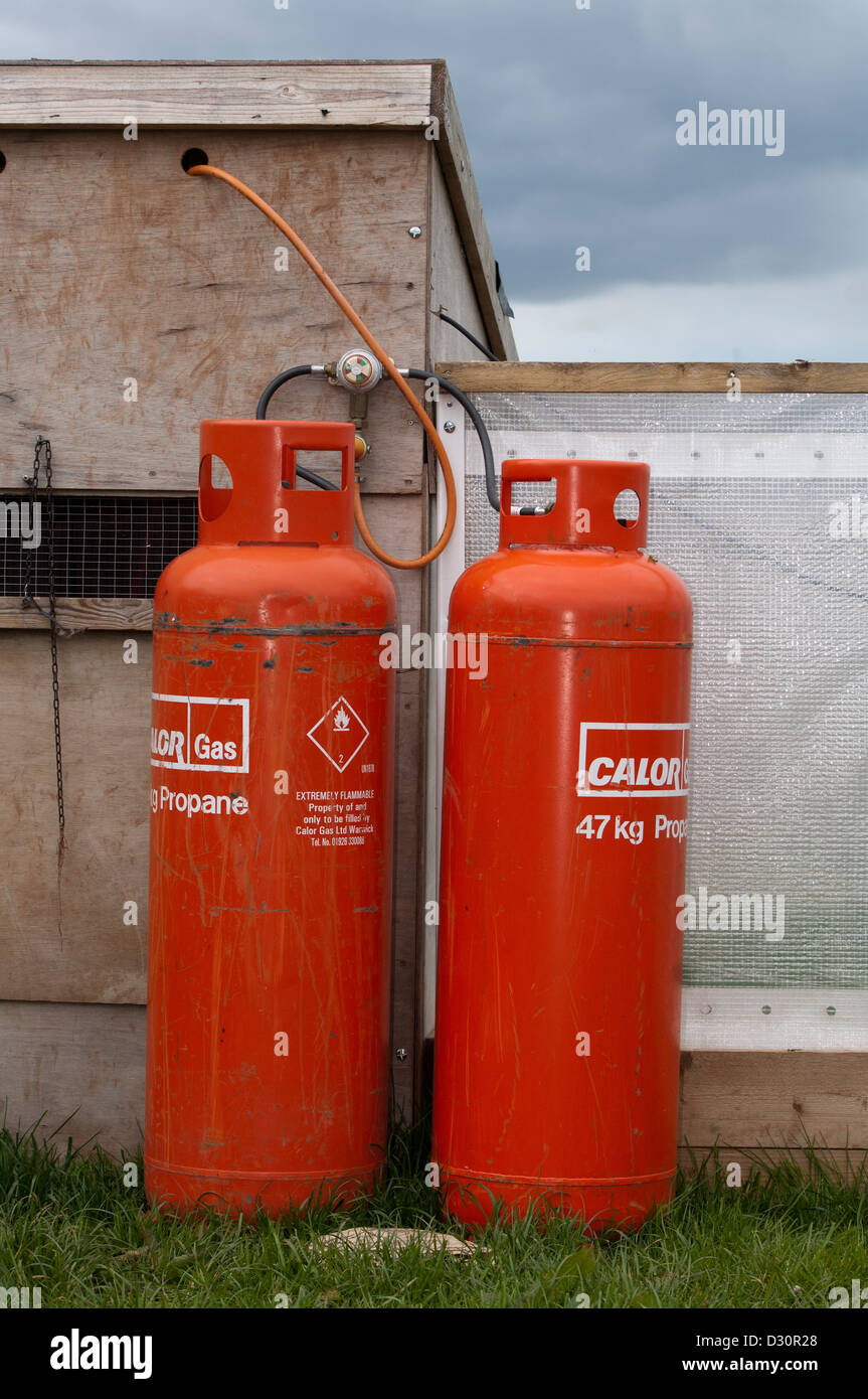 Propane Gas cylinders attached to pheasant rearing sheds used to provide heat to young chicks. - Stock Image