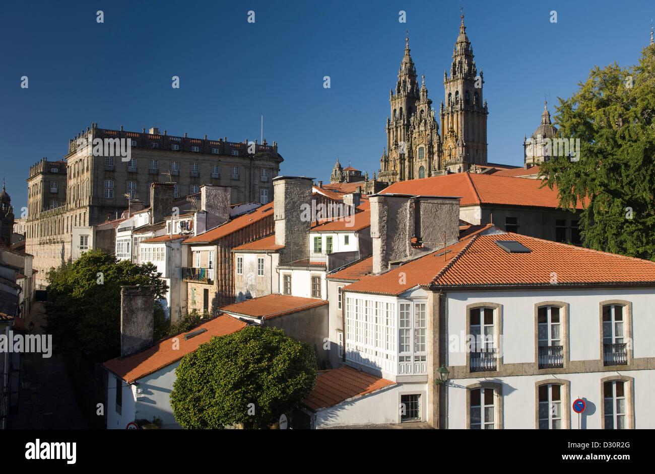 CATHEDRAL OF SAINT JAMES OLD CITY SANTIAGO DE COMPOSTELA GALICIA SPAIN Stock Photo