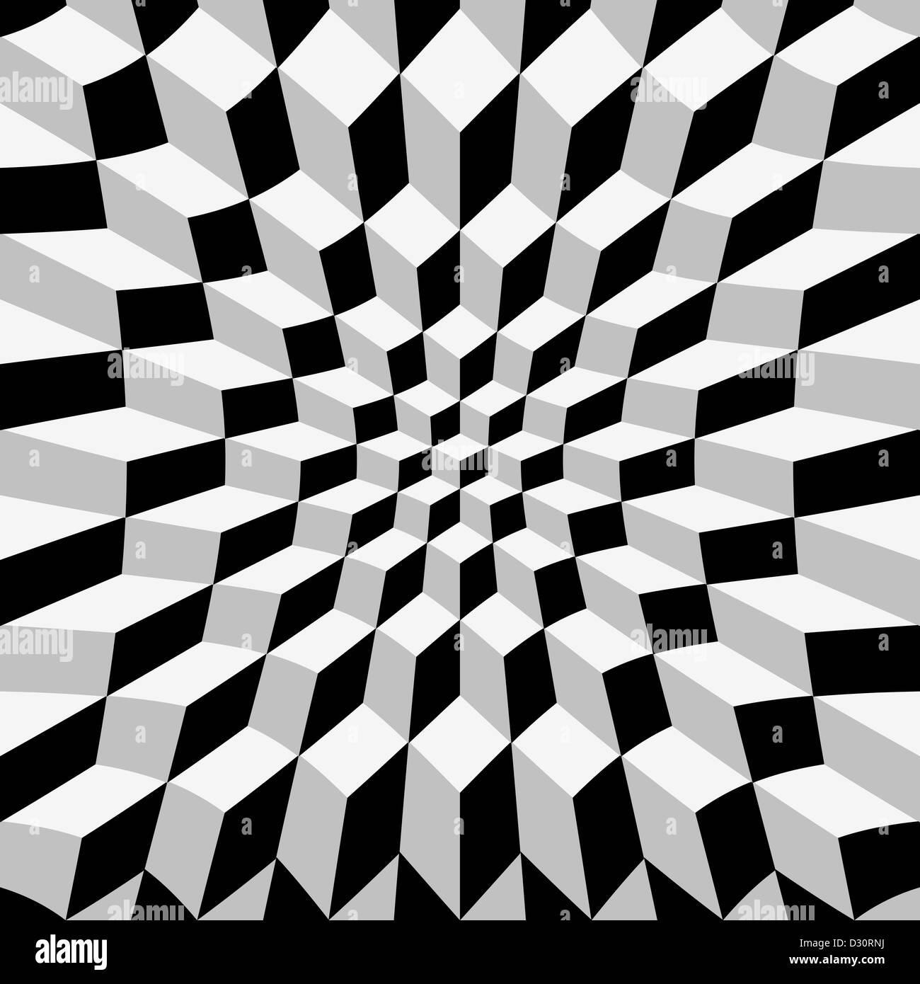 Abstrat warped cube background, op art - Stock Image