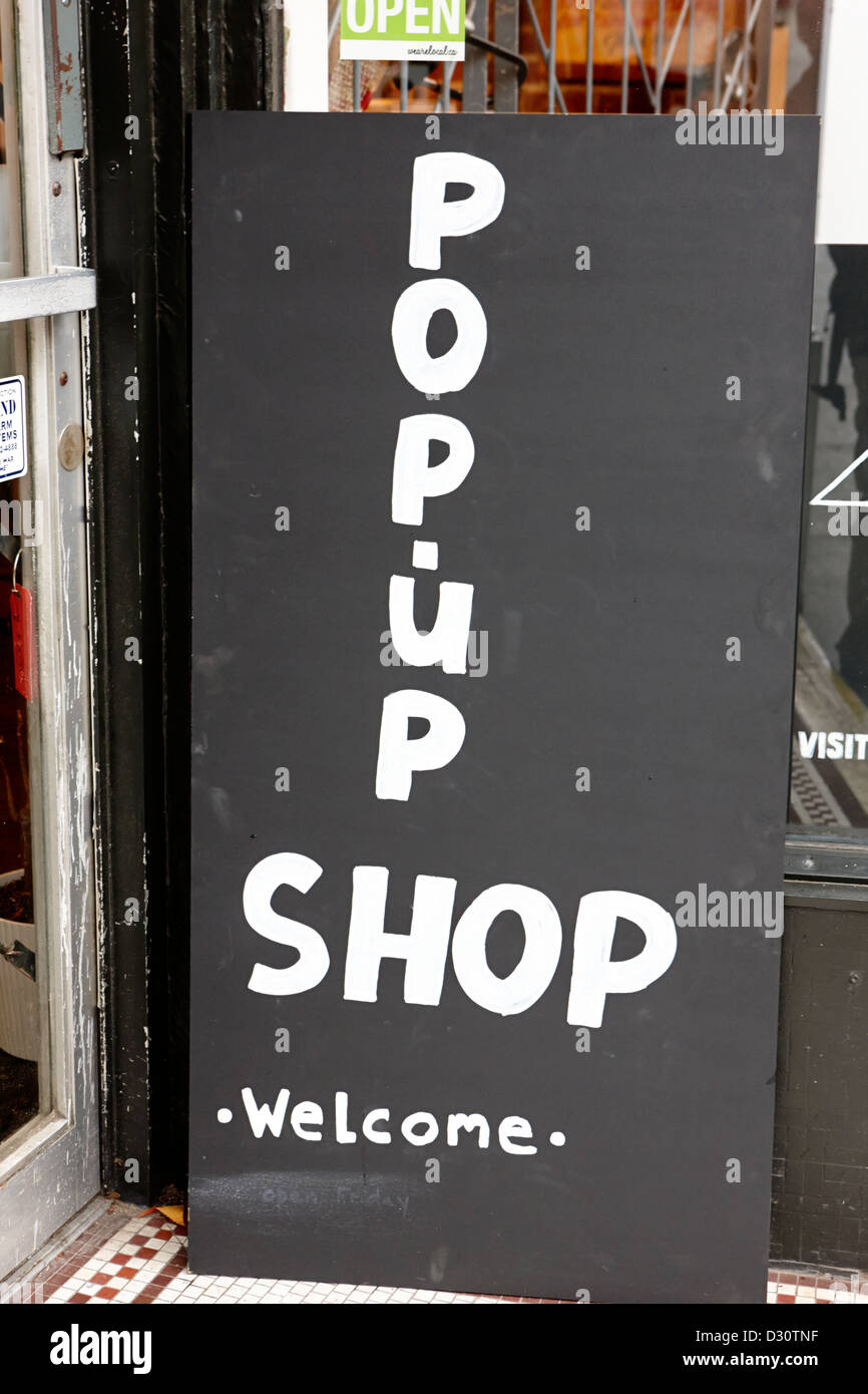 temporary sign for a pop-up shop in Vancouver BC Canada - Stock Image