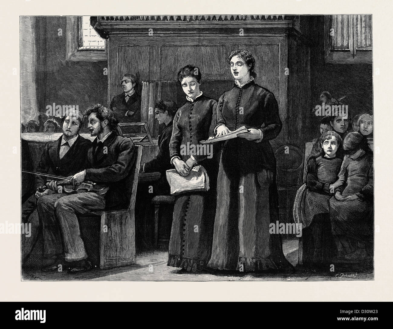 BLIND GIRLS SINGING: A SKETCH AT THE ROYAL NORMAL COLLEGE OF MUSIC, UPPER NORWOOD - Stock Image