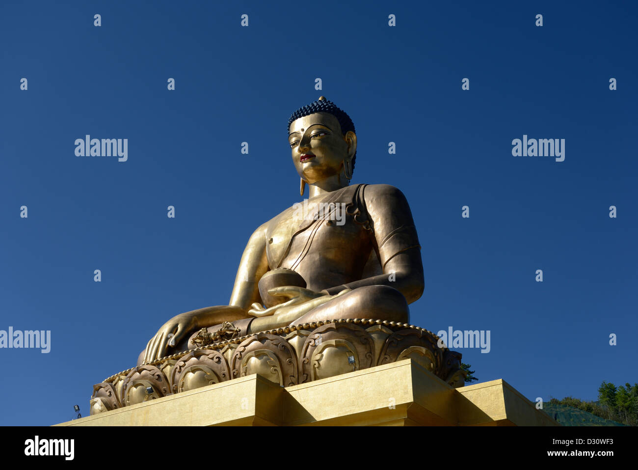 Giant golden Buddha statue,overlooks the valley with the capital Thimphu below,high vantage point,50m tall,Bhutan,36MPX,HI - Stock Image