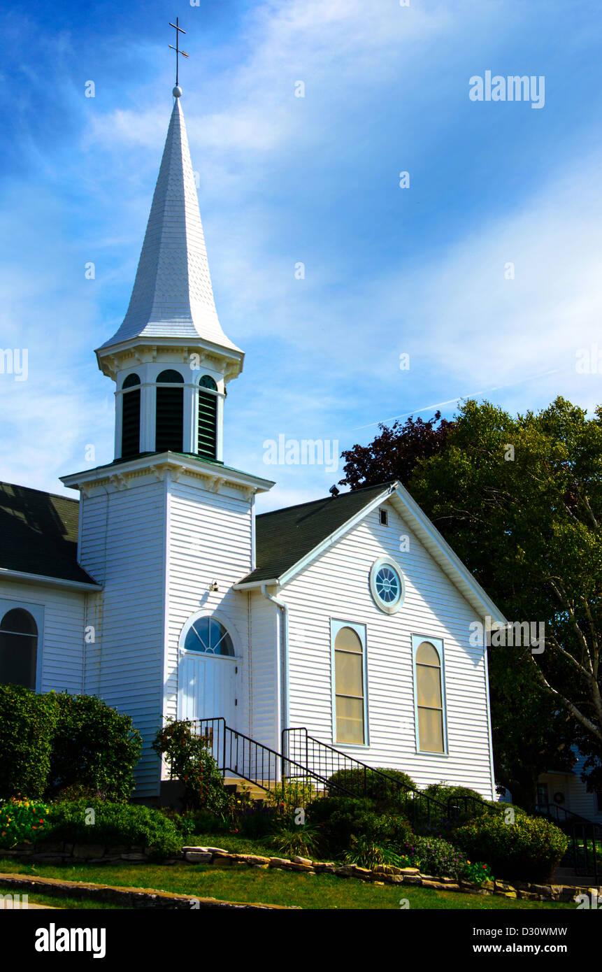 The historic Ephraim Moravian Church in the Door County town of Ephraim, Wisconsin - Stock Image