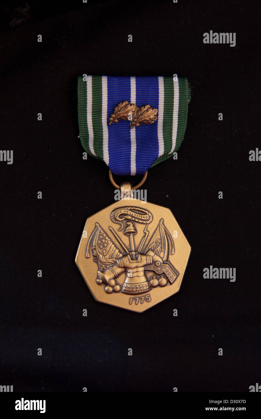 Army Achievement Medal (AAM) with 2 oak leaf clusters on black - Stock Image