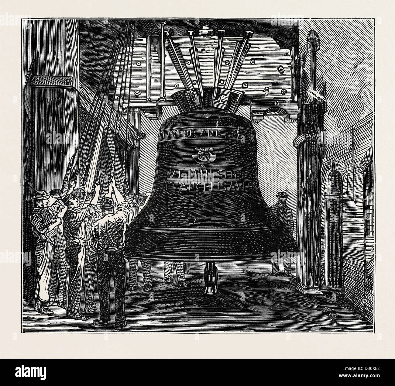 GREAT PAUL: THE NEW BELL FOR ST. PAUL'S CATHEDRAL: HUNG IN FOUNDRY FOR EXPERIMENTAL SWINGING, LONDON - Stock Image