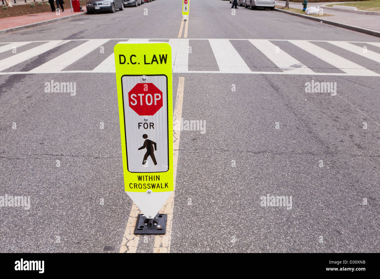 Crosswalk safety sign - Stock Image
