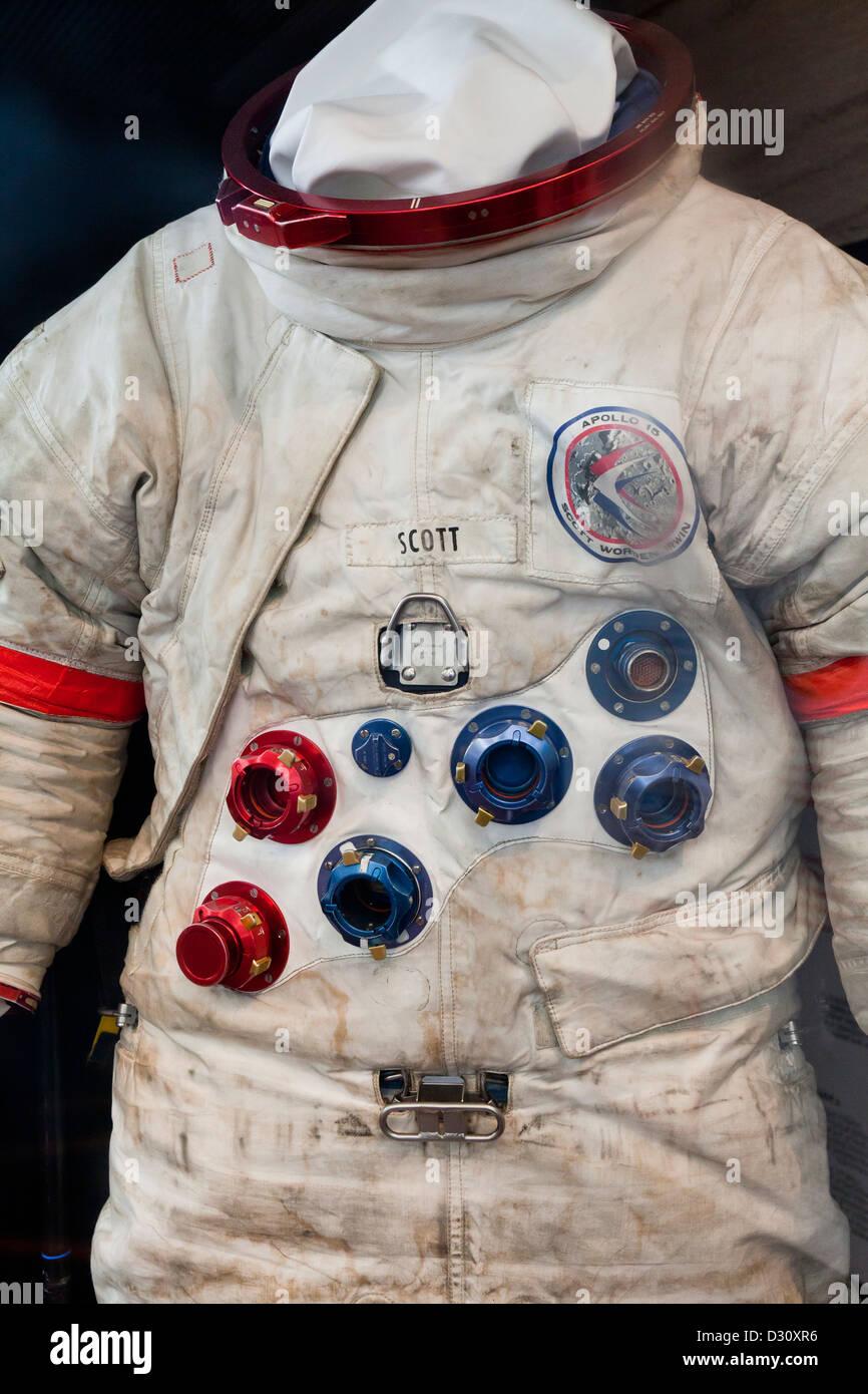Apollo lunar suit worn by David Scott, NASA astronaut - circa 1971 Apollo 9 mission - USA - Stock Image