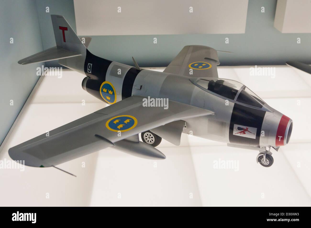 SAAB-29 turbojet airplane model - Stock Image