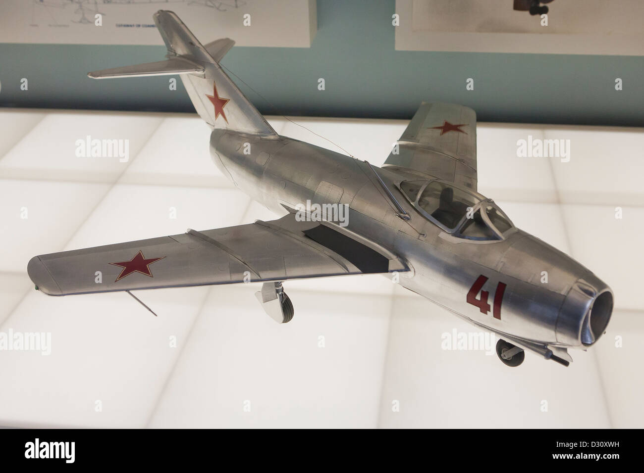 MiG-15 bis Soviet jet fighter aircraft model - Stock Image