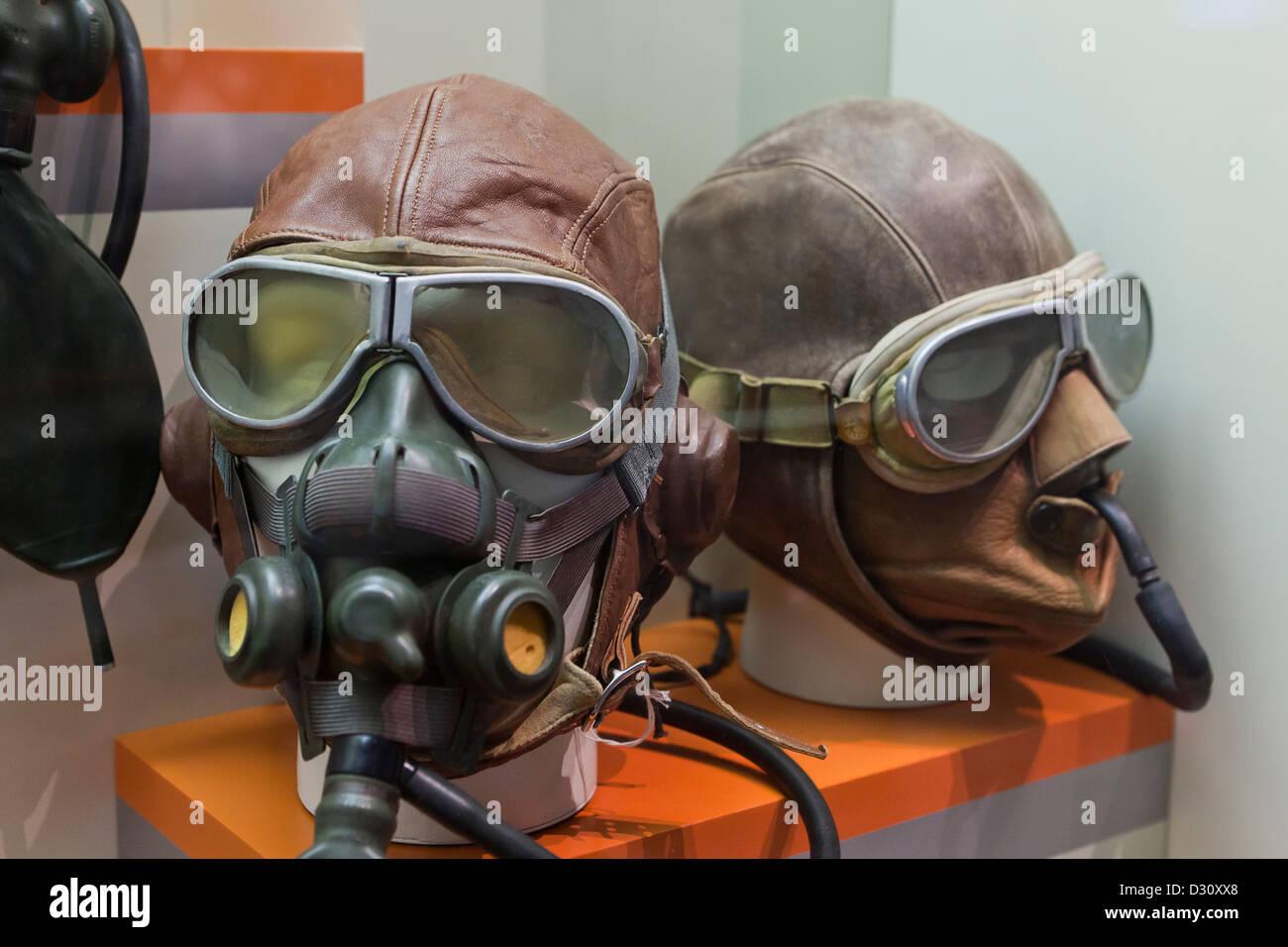 Type A-8B vintage WWII aeronautic oxygen masks - Stock Image