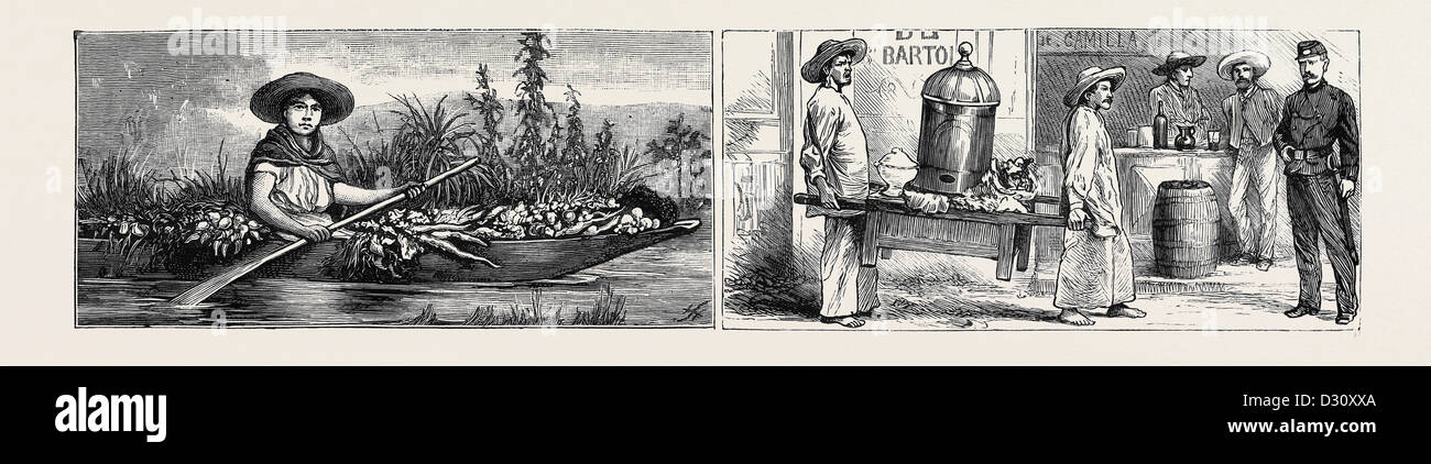 MEXICO: VEGETABLE MERCHANT (LEFT), TRIPE MERCHANTS (RIGHT) - Stock Image
