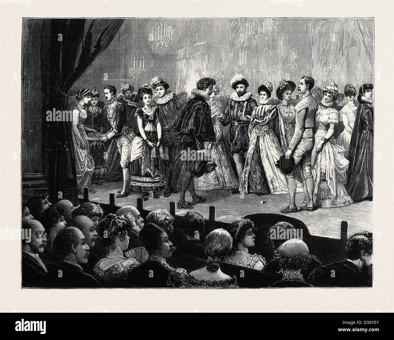 AMATEUR PERFORMANCE OF 'ONE HOUR' AT THE BRITISH EMBASSY, CONSTANTINOPLE, 'THE NURSERY RHYME QUADRILLE' - Stock Image