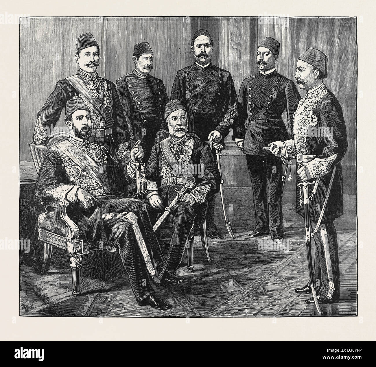 THE CRISIS IN EGYPT: THE KHEDIVE AND SOME LEADERS OF THE NATIONAL PARTY - Stock Image