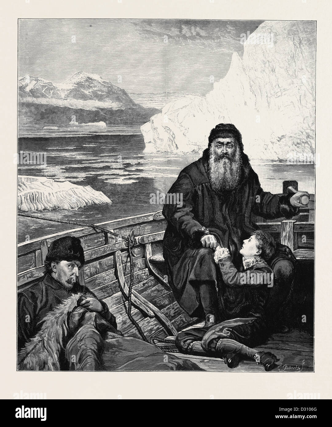 THE LAST VOYAGE OF HENRY HUDSON FROM THE PICTURE BY JOHN COLLIER - Stock Image