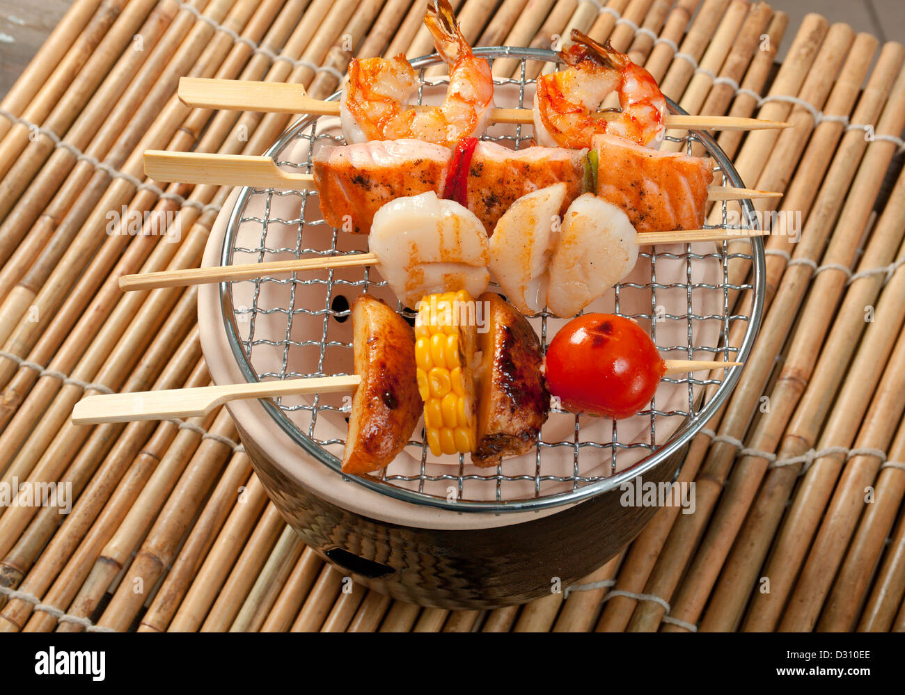 Japanese skewered seafoods vegetables ,Yakitori .closeup - Stock Image