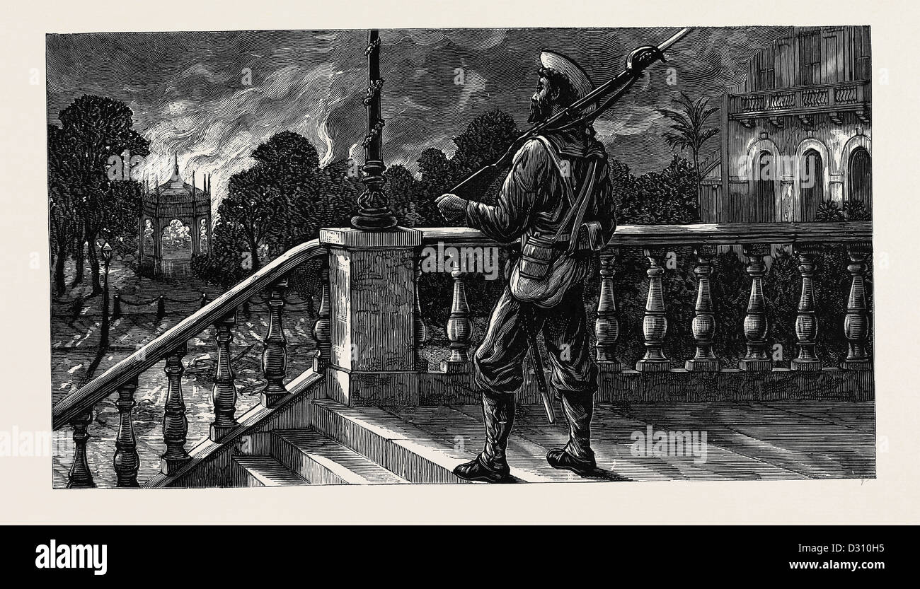 THE WAR IN EGYPT: AFTER THE BURNING OF ALEXANDRIA: 'IN POSSESSION', A BLUE-JACKET ON GUARD AT THE TRIBUNAL - Stock Image
