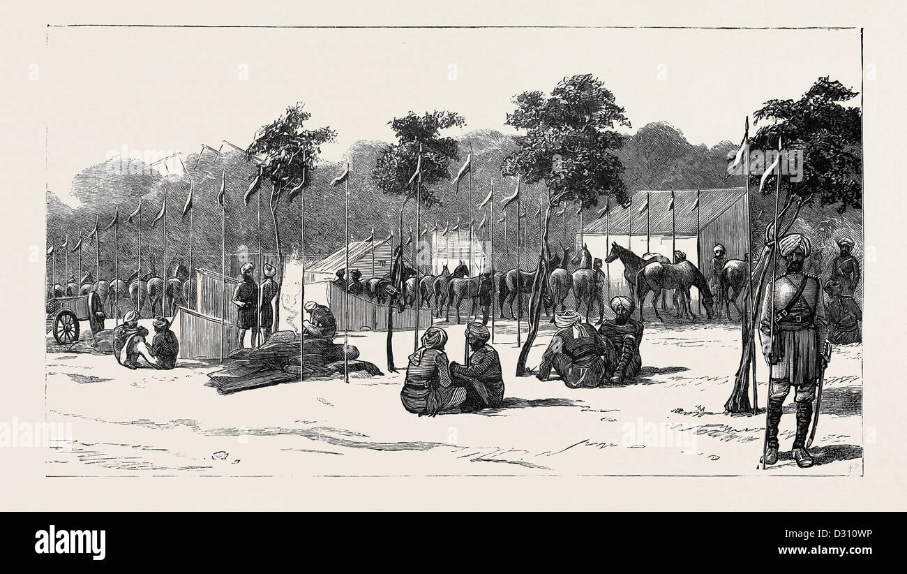 THE WAR IN EGYPT: CAMP OF THE THIRTEENTH BENGAL LANCERS BESIDE THE QUAY MEHEMET ALI, ISMAILIA - Stock Image